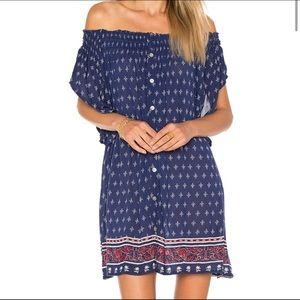 NWT Faithfull Deia Mini Off Shoulder Dress Blue XS